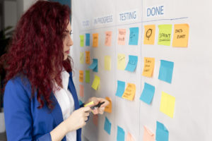 Mulher colando post-its em painel para realizar um mapeamento de processos